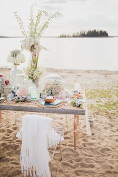 Bohemian Beach Wedding Inspiration, Kristin Zabos Photography, Event Design by Jenelle Jamani of Special Event Rentals, Florals by FaBLOOMosity