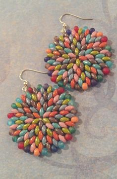 Pastel Confetti Splash Beaded Earrings - Large Disc Earrings - Beadwork Jewelry - Statement Jewelry