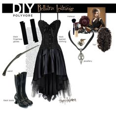 As most of my wardrobe is BLACK! It's easy to pull together a last minute DIY Halloween costume. Bellatrix Lestrange is my go to costume for Halloween. Just nee. Harry Potter Dress, Harry Potter Cosplay, Harry Potter Halloween, Theme Harry Potter, Harry Potter Outfits, Bellatrix Lestrange Costume, Bellatrix Costume, Belatrix Lestrange, Maquillage Halloween