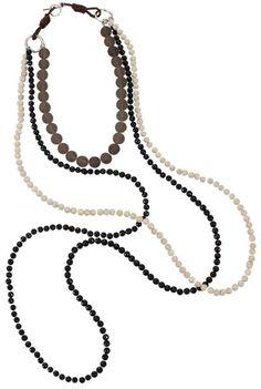 Brunello Cucinelli Gray Long Strand Tri Color Necklace
