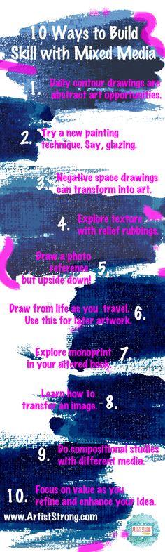 10 ways to build your skill using mixed media art | free art lessons | inner artist | art ideas