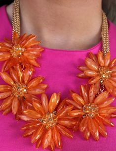 Orange flower necklace with a pink top.great combo < Just bought this for my bridal shower! Magenta, Orange And Purple, Pink Yellow, Bright Pink, Orange Color, Hot Pink, Orange Fashion, Pink Fashion, Pink Love