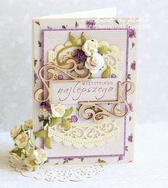 Kartka imieninowa Shabby Chic Cards, Paper Crafts, Diy Crafts, Anna Griffin, Quilling, Cardmaking, 3 D, Decorative Boxes, Greeting Cards