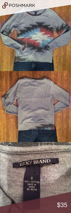 Lucky Brand Aztec Sweatshirt In great used condition, this sweatshirt is made of French terry. It's warm but not bulky. The pattern makes it more than just a great sweatshirt and continues on the back of the top too. Make me an offer. Lucky Brand Tops Sweatshirts & Hoodies