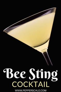 The bee sting is a martini-style cocktail with quite a little surprise. It's yellow hue looks tangy-sweet, and it is with the honey syrup and lemon. But underneath is a nasty little sting from muddled jalapeño pepper. It's a cocktail that'll no doubt have you and your guests humming for more. #cocktailrecipe #martini #beestingcocktail #jalapenopepper #cocktail Fall Drinks, Summer Drinks, Cocktail Drinks, Cocktail Recipes, Alcoholic Drinks, Cocktails, Martinis, Beverages, Chipotle Recipes