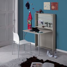 Galileo Desk from Maconi. Galileo space-saving fold away desk is ideal. Space Saving Desk, Space Saving Furniture, Desk Space, Fold Away Desk, Wall Mounted Desk, Folding Desk, Kid Desk, Workspace Inspiration, Tiny Spaces