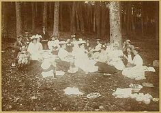 "During the Victorian Era, picnics were often elaborate and creating a suitably ""rustic"" ambience might require more effort than a formal banquet. Hampers full of special delicacies were carried to remote outdoor locations along with a bewildering array of china and glassware, chairs, cushions, ground covers, tents, sunshades, games and amusements—plus all the children, pets, and any guests who happened to be visiting."