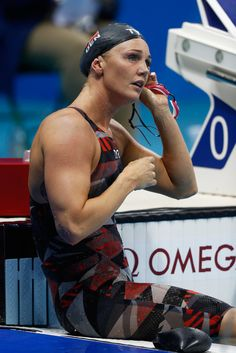Jeanette Ottesen of Denmark reacts after the first Semifinal of the Women's Butterfly on Day 1 of the Rio 2016 Olympic Games at the Olympic Aquatics Stadium on August 2016 in Rio de Janeiro, Brazil. Olympic Swimming, Olympic Gymnastics, Olympic Sports, Olympic Games, Rio Olympics 2016, Summer Olympics, Female Swimmers, Swimming Motivation, Swimming Photography
