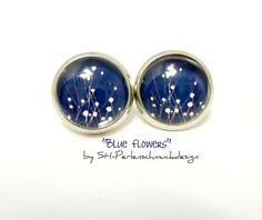 Silver coloured vintage studs Blue