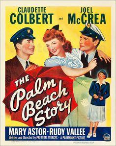 THE PALM BEACH STORY, l-r: Rudy Vallee, Claudette Colbert, Joel McCrea, bottom: Mary Astor on window