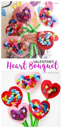 Arty Crafty Kids Valentines Craft Ideas for Kids Toddler Valentines Heart Bouquet The perfect Valentines craft for toddlers and preschoolers! Toddler Valentine Crafts, Kinder Valentines, Valentines Day Activities, Valentine Heart, Valentines Day Party, Valentines Art For Kids, Valentines Crafts For Preschoolers, Valentine Ideas, February Toddler Crafts