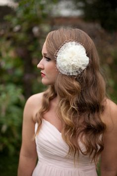Bridal and Bridesmaid Hair Accessory: Ivory, Cream, Swiss Dot Lace Ruffle Flower, French Vintage Style Comb with Birdcage Netting
