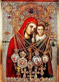 Icon of the Theotokos ( weeping ) Monastery Boian, Ukraine Blessed Virgin Mary, Religious Icons, Mother Mary, Catholic, Mona Lisa, Artwork, Painting, Google, Mosaics
