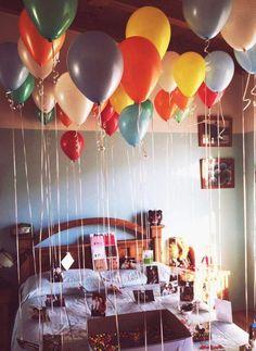 Birthday Gifts For Boyfriend Diy, Birthday Gifts For Best Friend, Birthday Gift For Him, Diy Birthday, Boyfriend Gifts, Happy Birthday, Birthday Balloon Surprise, Birthday Party Snacks, Birthday Balloons