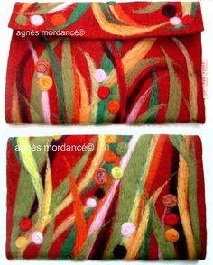 agnès mordancé© laine feutrée motifs piquetés à l'aiguille, needle felted, felt purse http://agnesmordance.blogspot.fr/
