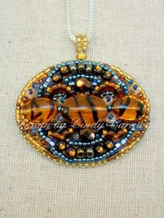 TIGER STRIPE  Bead Embroidery Pendant by CindyCaraway on Etsy, $65.00