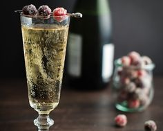 Sugared cranberry champagne cocktail