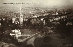 """- Aerial footage of Clissold Park in Stoke Newington"""" Vintage London, Old London, The London Gazette, Aerial Footage, Birds Eye View, Paris Skyline, England, Black And White, Park"""