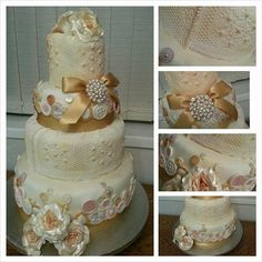 my first ever wedding cake in lace button vintage style xx - Cake by kaykes