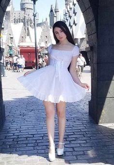 Cotton eyelet fitted dress with corset waist tie and flared skirt. Pretty Dresses, Sexy Dresses, Dress Outfits, Short Dresses, Girly Girl Outfits, Little Girl Dresses, Girls Dresses, Ddlg Outfits, Green Lingerie
