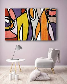 Vibrant Colorful Abstract-0-23. Mid-Century Modern Purple