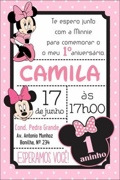 Dica de convite minnie rosa na vertical Mickey Mouse Toys, Minnie Mouse Theme Party, Fiesta Mickey Mouse, Minnie Mouse Birthday Invitations, Baby Mickey, Minnie Birthday, Mouse Parties, 2nd Birthday Parties, Baby Birthday