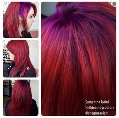 Purple shadow roots to a bright red, and a side shave.  Done by Samantha Tarini at Shag Me Salon in Las Vegas, NV