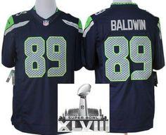 Nike Seattle Seahawks 89 Doug Baldwin Blue Game LIMITED 2014 Super Bowl XLVIII NFL Jerseys