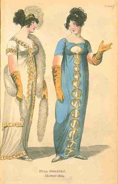 Fashions of London and Paris, Full Dress, March 1805.  That blue dress is quite unusual…