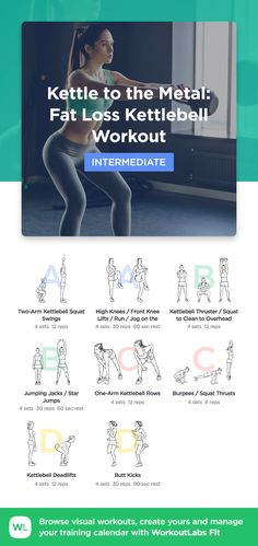 Kettle to the Metal: Fat Loss Kettlebell Workout by WorkoutLabs Fit · View and download printable PDF: https://workoutlabs.com/s/PLKBu