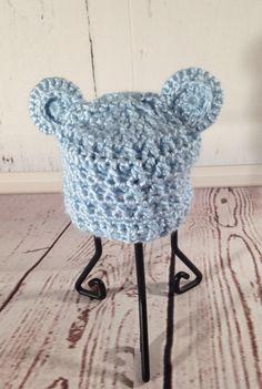 Bear Hat - Newborn Beanie - Baby Beanie Hat - Blue Hat - Crochet Baby Hat - Newborn Hat - Baby Hat - Crochet Hat - Baby Photo Prop - Beanie by StephsFamilyStitches on Etsy https://www.etsy.com/ca/listing/236880573/bear-hat-newborn-beanie-baby-beanie-hat