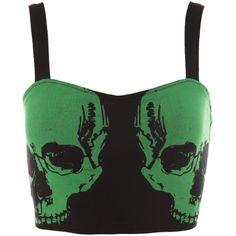 Teenage Runaway Green Skull Longline Bra   Hot Topic ($15) ❤ liked on Polyvore featuring tops, shirts, crop tops, corset, tank tops, green corset top, skull corset, skull crop top, corset crop top and long line shirt