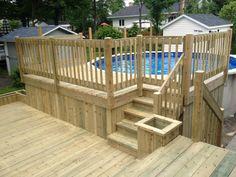 I need this splendid deck diy Above Ground Pool Landscaping, Above Ground Pool Decks, In Ground Pools, Patio Plan, Pool Deck Plans, Backyard Bar, Backyard Pool Designs, Backyard Ideas, Garden Ideas