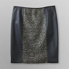 $24.99 - Jaclyn Smith - Women's Pencil Skirt - Tweed & Faux Leather - K-Mart