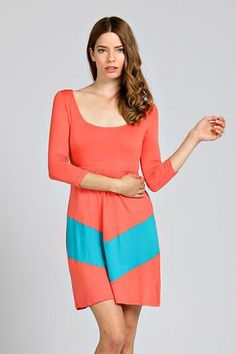 Chevron Babydoll Dress Coral Mint Women's Fashion Spring Summer Easter Outfits