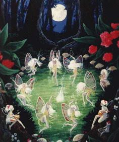 English, early 1900's.  Love the composition of fairy circle echoing the cirular 'window' of the center trees focusing on the circle moon.  Then the contrasting red on either side, beautiful!!