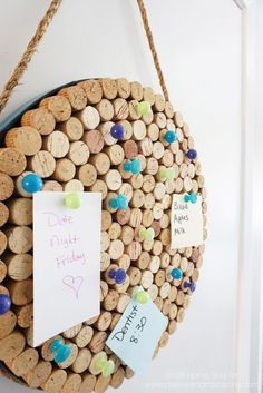 Having a DIY cork board in the kitchen helps stay organized.