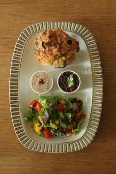 Breakfast : Tomato Muffin,Green Salad,BlackOlive Paste,Beans Paste,Banana,Yogurt,OrangeJuice