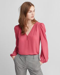 Puff Sleeve Button V-Neck Blouse in peony