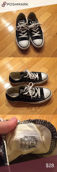 Black Converse Black low top converse. Size 4 in men's, 6 in women's. A few scuffs here and there but overall great condition! Converse Shoes Sneakers