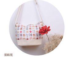 Rabbit and Cake - Linen Canvas Should Bag