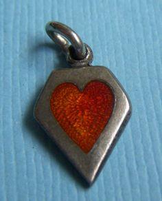 Vintage enamel red memory heart sterling charm