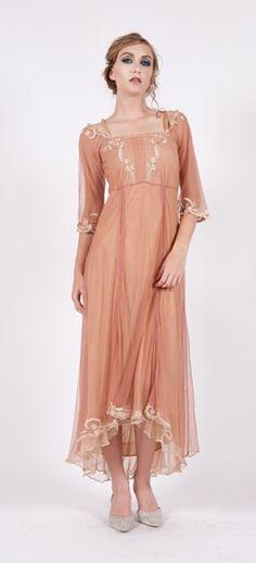 Nataya # 40147 Rose/Gold Empress Dress,downton abbey dresses,1920's style dresses,1930's inspired dresses,vintage style dresses,nataya dresses, nataya wedding gowns.