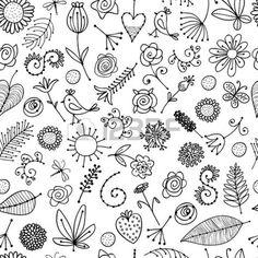 Bloemen ornament schets, naadloze achtergrond voor uw ontwerp Stockfoto