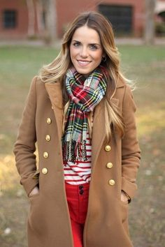 Step up your off-duty look in a camel coat and red skinny jeans. Shop this look for $123: http://lookastic.com/women/looks/green-scarf-white-and-red-crew-neck-sweater-camel-coat-red-skinny-jeans/4615 — Green Plaid Scarf — White and Red Horizontal Striped Crew-neck Sweater — Camel Coat — Red Skinny Jeans