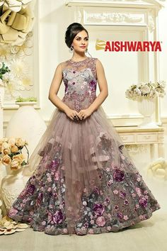 Get ready to be swept off your feet with our brand new collection of designer gowns! Buy Gown online - http://www.aishwaryadesignstudio.com/alluring-dusty-grey-designer-party-gown