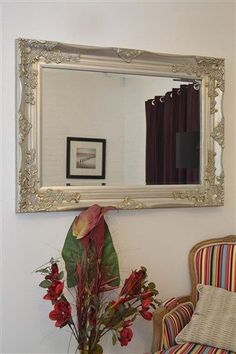 large silver vintage ornate style bevelled wall mirror 3ft9 x 2ft9144cm x 84cm
