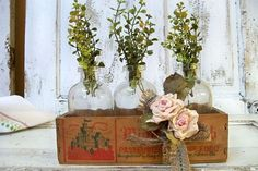 Rustic greenery centerpiece home decor apothecary jar set with cheese box cottage centerpiece window decor