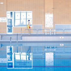 Swim: Inviting new work by Mária Švarbová dipped in appealing primary colours Modern Photography, People Photography, Swimming Pool Photography, Art Nouveau, Its Nice That, Pastel Wallpaper, Beach Art, Primary Colors, Surrealism