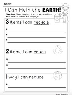 "FREEBIE - Earth Day Printables ""I Can Help the Earth!"""